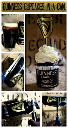 Beer cupcakes in a can, from beer-crafts.com. I wouldn't use Guinness but I love the idea of the beer can being used as a fancy liner!