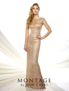 Montage by Mon Cheri - 215912 - Sequin lace sheath with lace illusion cap sleeves and bateau neckline, sweetheart bodice, lace illusion back, sweep train. NEW Color: GoldSizes: 4 - 20Colors: Gold, Silver, Navy Blue