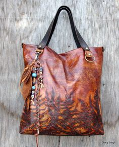 RESERVED for Erin Woodland Leather Tote Bag with by stacyleigh