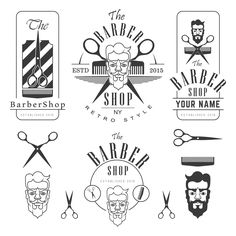Set of vintage barber shop by ART69M on Creative Market