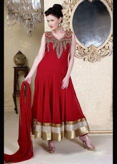 Festive Wear Red Anarkali Shalvar Kameez . shop online at - http://gravity-fashion.com/16443-festive-wear-red-anarkali-shalvar-kameez-.html