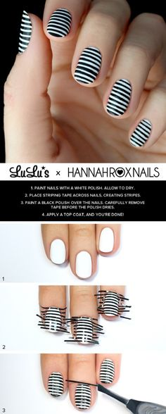 Black and White Striped Nail Tutorial - 16 Springtacular Nail Art Tutorials You Can Totally DIY | GleamItUp