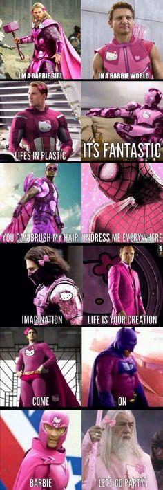 Marvel jokes - I'm a barbie girl memes humour fun barbie Avengers Humor, Marvel Jokes, Funny Marvel Memes, Dc Memes, Stupid Funny Memes, Funny Relatable Memes, Funny Comics, Hilarious, Memes Humour