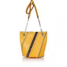 Proenza Schouler Black/Sunflower Mini Leather Hex Bucket Bag - 50% Off