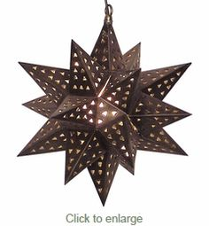 Large Moravian Star Light   Punched Tin