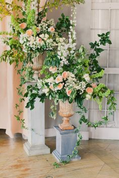 Floral Urns on Pedestals- Peach Garden Roses + Greenery