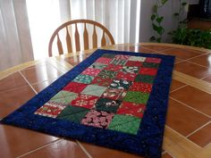 Quilted Christmas Table Runner - 20 in x 33.5 in - Reversible