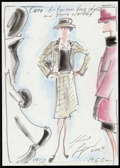 1950-1960: Mademoiselle Chanel and her creations by decade. Coco between two styles and two worlds.  Sketch by Karl Lagerfeld. © Chanel