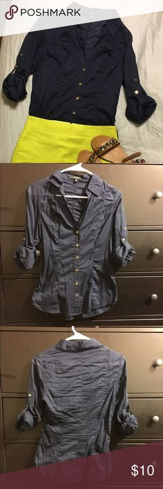 Express Navy Blue Button Up Blouse Size XS The classic navy button up for casual or dress wear. Cute gold buttons to contrast the dark blue. Wrinkled because it's been sitting in my closet for a while. Time for someone else to enjoy! Express Tops Blouses