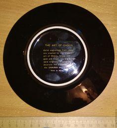 Купить Тарелка коллекционная с золотом и серебром. Золото 24 карата - черный, фарфор из японии