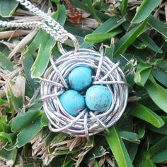 Wire Wrapped Silver-colored coated copper Bird's Nest with Chalk Turquoise