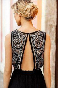 Black Party Dress, Lace Dress & Sequin Dress - Dress with a halter top Fashion Details, Look Fashion, Womens Fashion, Fashion Design, India Fashion, Mode Outfits, Mode Inspiration, Mode Style, Dress Backs