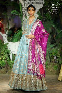Oh, what a beautiful silk anarkali. Love the purple banarasi dupatta with contrast mint blue gown. #Frugal2Fab