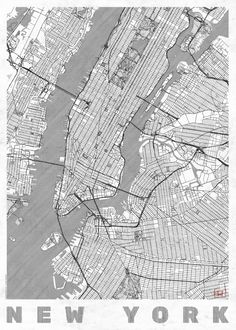 New York Map Line Art Print by City Art Posters | Society6