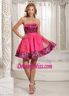 Most popular hot pink sweetheart mini length tulle and zebra casual