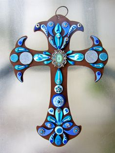 Metal Cross (Blue) by Patti Cortez on Etsy