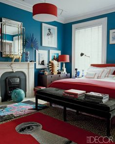 Home Décor at PointClickHome.com – Rugs on Top of Rugs - ELLE DECOR; love the colors, rugs, light fixture