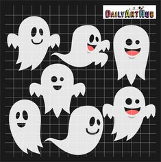 FREE  Halloween Funny Ghosts Clip Art Set