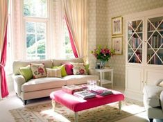 neutral sofa, bright accent pillows, patterned walls (not in pink and green though) - 66 Airy And Elegant Feminine Living Rooms | DigsDigs