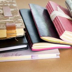 The process of creating a simple sewn up leather journal.