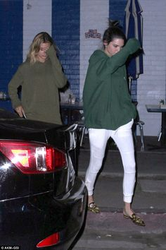 Three's a crowd? Kendall's BFF Hailey Baldwin later joined the pair for a midnight snack at Swingers diner in West Hollywood