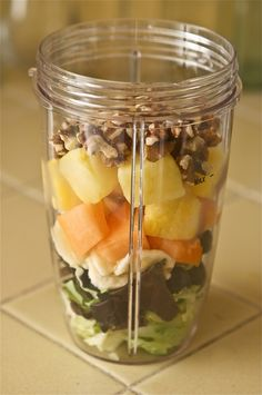 Butterhead Lettuce, Grapes, Banana, Cantaloupe, Frozen Pineapple, Walnuts, Add Water & a Splash of Coconut Water & Blend.