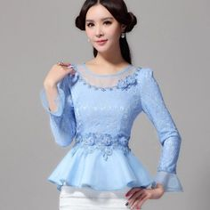 Cheap shirt fashion, Buy Quality shirt sweater directly from China shirt orange Suppliers: New Fashion Women shirt 2016 Spring Ruffles waist Slim Hollow out Chiffon Blouses Long sleeve Lace shirts Elegant Lace Tops Blouse Peplum, Plus Size Women's Tops, Lace Tops, Blouse Designs, Ideias Fashion, Fashion Dresses, Clothes For Women, Chiffon Blouses, Chiffon Shirt