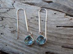 Beautiful Sky blue topaz earrings handmade in sterling silver by Billyrebs on Etsy