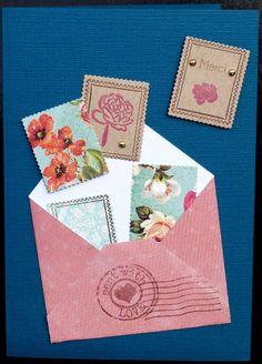 Carte de remerciement artisanale avec enveloppe et envolée de timbres fleuris - carte postale et autre cartes - Les 2 Mains Gauches - Fait Maison
