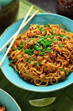 Spicy Sesame-Chili Noodles with Chicken. This weeknight dinner-worthy dish is fuss-free and full of flavor.   hostthetoast.com