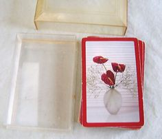 Playing Cards Flowers in Vase Glitter Full Deck Plastic Case Vintage