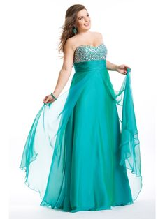 A-line Sweetheart Sleeveless Floor-length Chiffon Plus Size Prom Dress/Evening Dresses #VJ640 - Plus Size Prom Dresses - Prom Dresses