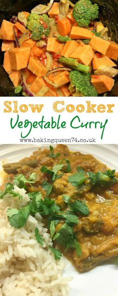 Slow Cooker Vegetable Curry recipe - use up your l. Slow Cooker Vegetable Curry recipe - use up your leftover vegetables in a tasty curry made in the slow cooker. Slow Cooker Vegetable Curry, Slow Cooker Curry, Veg Curry, Healthy Slow Cooker, Easy Vegetable Curry, Slow Cooker Recipes Paleo, Vegetable Lasagne, Vegetable Meals, Slower Cooker