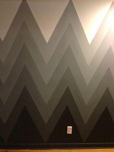 chezrivegauche.wordpress.com - ombre chevron wall, hand painted, kept adding white to black paint