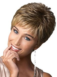 Fashion High Quality womens Cut Hairstyle Synthetic Wigs Short Hair Straight Brown Wigs with Bangs for Women Female Perruque wig Natural Straight Hair, Short Straight Hair, Short Wavy, Short Hair Cuts For Women, Short Hairstyles For Women, Straight Hairstyles, Short Pixie, Short Haircuts, Red Pixie
