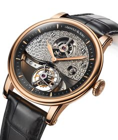 The design of the TE8 Métiers d' Art I from Arnold & Son fully expresses the brand's English watchmaking heritage, and was inspired by the pocket watches John Arnold made for King George III and the royal court during the earlier part of his life.