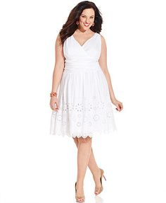 I seriously wish this came in at least a tea-length!! LOVE the eyelet look! SL Fashions Plus Size Dress, Sleeveless Ruched Eyelet