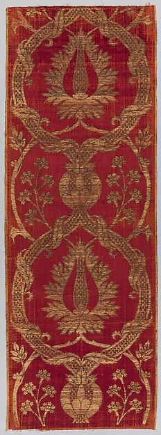 Panel Date: 16th century Geography: Turkey Culture: Islamic Medium: Silk, metal wrapped thread; cut and voided velvet, brocaded Dimensions: Textile a: H. 73 in. (185.4 cm) W. 26 in. (66 cm) Textile b: H. 73 1/2 in. (186.7 cm) W. 26 in. (66 cm) Classification: Textiles Credit Line: Rogers Fund, 1917 Accession Number: 17.22.8a, b