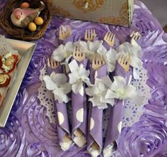 Cutlery at a Lavender Baby Shower #lavender #babyshower