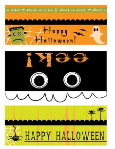 Free printable - Halloween Bag Toppers. Cut them out, fold in half and afix to top of bag.  They are made to fit perfectly over either sandwich or snack-size ziploc baggies.