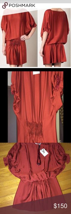 """Sale 🌹Diane Von Fürstenberg  Silk dress ❤️️Diane Von Fürstenberg dress in beautiful brick red color. New with tag. Drop waist with delicately pleated and elasticized sleeves, pleated waist also elasticized for maximum comfort and adjustability and hidden pockets. Please notice a tiny snag line close to the hem. Not visible when worn. Also, this is a Handy dress but the tag that came along said """"Ursula grey"""". Just want to be clear.  Dropped price already. Firm. Diane von Furstenberg Dresses…"""