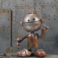 Forgotten Robot - Smiley Made by Jon Spratlin on Etsy: http://www.etsy.com/shop/forgottenrobots?ref=seller_info #robot #art