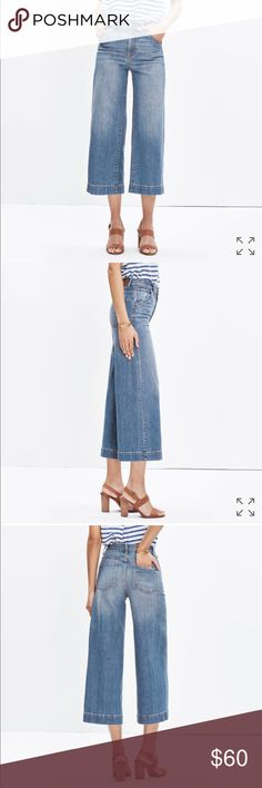 Madewell wide leg crop in birdie wash Amazing jeans. The best wash. Please comment with any questions!! Madewell Jeans Flare & Wide Leg