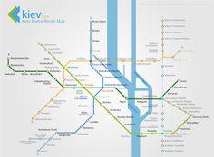 Beautifully designed Kiev Metro Route Map from Kiev.com
