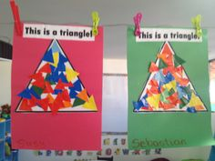 Students cut pieces of geometric shapes from tissue paper, and then use those pieces to fill in a larger-scale picture of the same geometric piece.