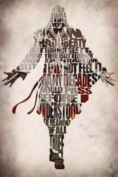 Assassin's Creed Inspired Poster - Ezio Auditore da Firenze from Assassin's Creed - Minimalist Illustration Typography Art Print Poster Assassins Creed 2, Arte Kombat Mortal, Assasins Cred, Assassin's Creed Wallpaper, Cultura Pop, Typography Poster, Poster Prints, Art Prints, Illustration