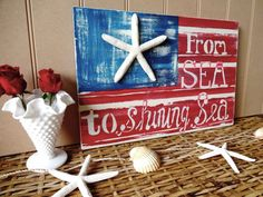 From Sea To Shining Sea Nautical Starfish Beach House Flag via Etsy