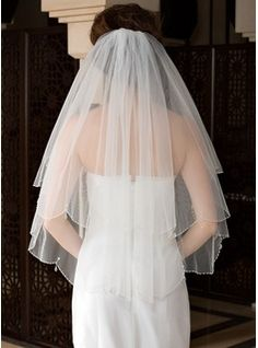 Two-tier Elbow Bridal Veils With Beaded Edge (006036615) - JJsHouse