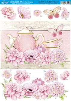 Papel Decoupage 3D Hot Stamping DH3-045 Decoupage Vintage, Decoupage Paper, 3d Cards, Paper Cards, Decoupage Printables, Beautiful Flowers Wallpapers, Tea Art, Miniature Crafts, Greeting Cards Handmade
