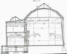 AEG Turbine Factory cross section drawing. Factory Architecture, Modern Architecture, Section Drawing, Architectural Sculpture, Cross Section, Walter Gropius, Bauhaus, Shed, Floor Plans
